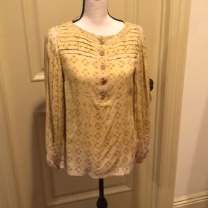 Tory Burch yellow blouse size 4 flowy sleeve